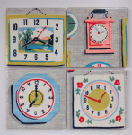 4 Ceramic Coasters in Cath Kidston Clocks